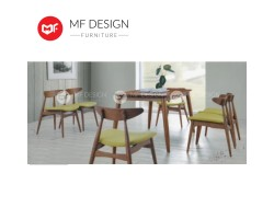 MF DESIGN Borato Dining Set (1 Table + 6 Chair) - Scandinavian Style [Full Solid Wood]